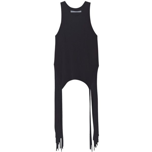 Raquel Allegra Tops - Raquel Allegra fringe black tank top